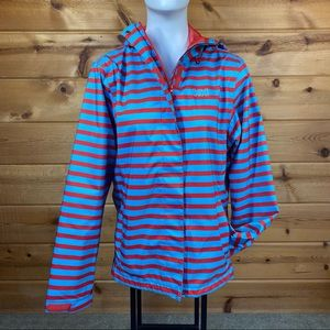 Helly Henson striped rain jacket coat hooded zip